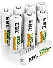 EBL oplaadbare AA batterijen 2800 mAh 8 stuks Procyco Ni-MH 1.2v batterijen 1200 cycli met opbergdoosje