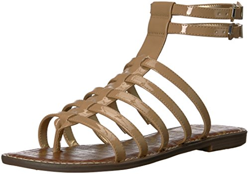 (Sam Edelman Women's Gilda Flat Sandal, Almond Patent, 5 M)