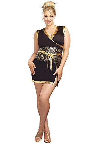 Dreamgirl A8920X Plus Size Kabuku Geisha Dancer Costume - 1X/2X - Black/Gold