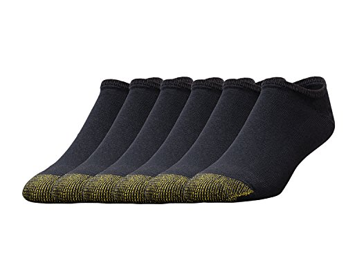Gold Toe Men's Cotton No Show Athletic Sock - 2 PK (12 Pair) 10-13 - Black, (6-Pack)
