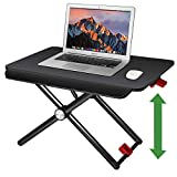 Saiji Standing Desk Converter, Height Adjustable Stand Up Desk Workstation, 24' Laptop Table, Wood Notebook Stand, Instantly Convert Any Desk into a Sit/Stand up Desk (Black)