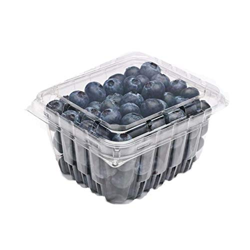 Katgely Vented Pint Plastic Berry Containers for Grape Tomatoes & Blueberries (Pack of 50) -
