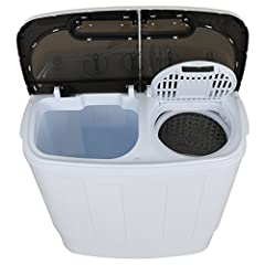 ZENY Twin-tub washing machine perfectly solved the laundry embarrass in a compact environment. Designed with two tubs,one for washing and one for spin drying,convenient and useful for daily life. Total laundry capacity 13 lbs, divided for 8 l...