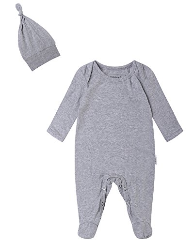 Kidsform Unisex 2-Piece Footie Cap Set Baby Cotton Romper Coverall Newborn Onesie Bodysuit Pajamas 0-12M Grey -