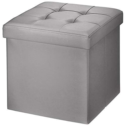 (BRIAN & DANY Faux Leather Folding Storage Ottoman Bench Seat Foot Rest Stool Coffee Table (15''X15''X15'' Gray) )