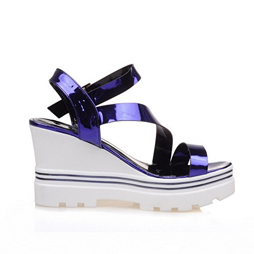 Sandals Buckle Open Heels High Solid Blue Womens AmoonyFashion Toe vqz0wFw