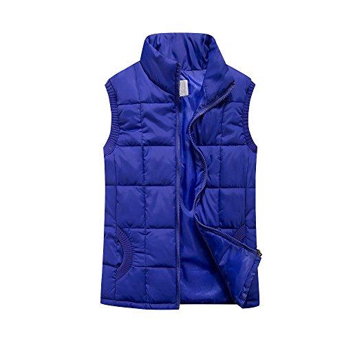 Down Lighweight Neck Women Sleeveless Vest Zip Blue Quilted Gilet Jacket nw4Ta