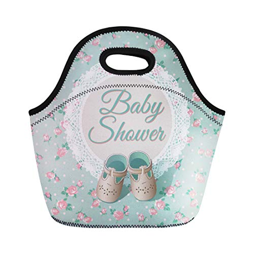 Semtomn Lunch Tote Bag Chic Baby Arrival Place Green Shabby Child Shoes Circle Reusable Neoprene Insulated Thermal Outdoor Picnic Lunchbox for Men Women