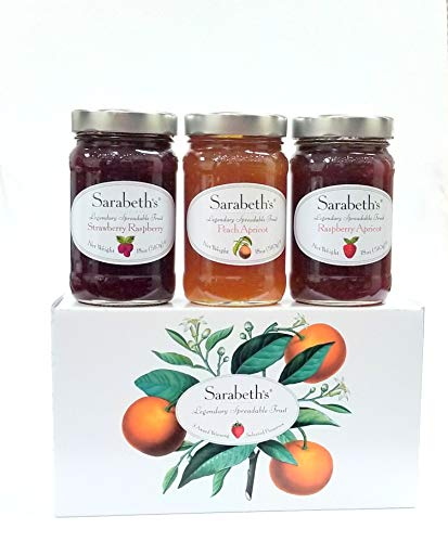 - Sarabeth's Legendary Spreadable Fruit - 3 Jar Gift Pack - Peach Apricot, Raspberry Apricot,Strawberry Raspberry