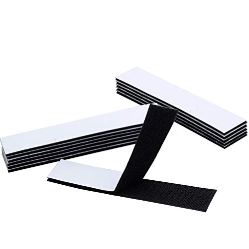 BRAVESHINE 12PCS Double Sided Mounting Squares - 1.2x6 Inch Anti-Slip Sticky Pads - Industrial Strengh Hook and Loop Strips Tape for Home or Office Use - Removable and Strong Adhesive Carpet Gripper ()
