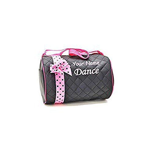 Personalized Quilted Black and Baby Pink Dance Duffel Gym Bag