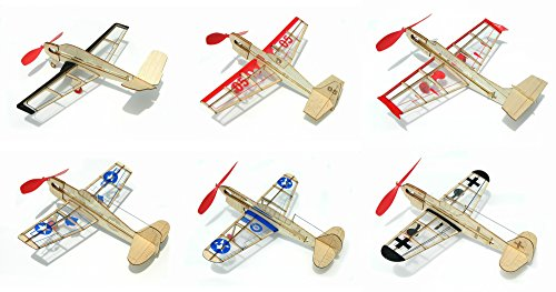 Guillow miniModels Balsa Wood Model Airplane Set: 6 Laser Cut Wood Kits Included – U.S. Warhawk, German Fighter, U.S. Hellcat, Rockstar Jet, Stunt Flyer, and V-Tail