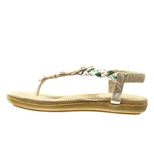 Angkorly - Chaussure Mode Sandale Tong salomés femme bijoux tréssé Talon plat 2 CM - Or