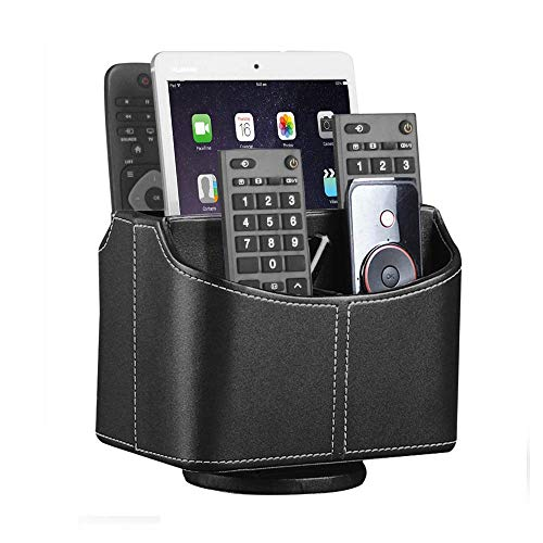 YAPISHI 360º Remote Control Holder Desk Organizer, Spinning Desktop Supply Organizer PU Leather Bedside Storage Box Nightstand Caddy for Media Controllers/TV Guide/Mail/Stationery/iPad/E-reader, Black