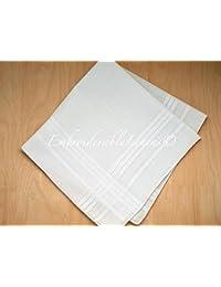 White Fine Classic Handkerchief set of 6 squared edge hem. 100% cotton. Classic mens handkerchief.