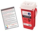 Sharps Container 2 Quart - Plus Vakly Biohazard Disposal Guide (1 Pack)