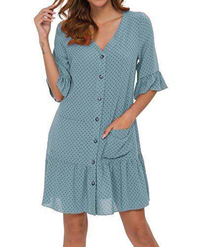- MINTLIMIT Dress for Women Polka Dot Chiffon Casual Summer V Neck Ruffle Beach (Light Blue&Black, M)