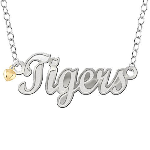 (College Jewelry Missouri Tigers Cutout Script Necklace with Gold Heart Accent)