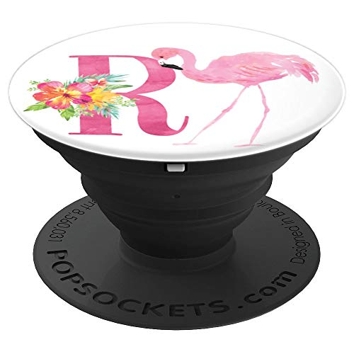 Flamingo Tropical Summer Pink Monogram Name Initial Letter R - PopSockets Grip and Stand for Phones and Tablets