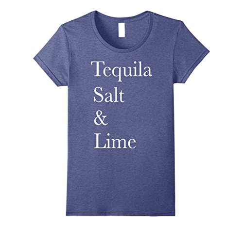 Womens Tequila Salt & Lime Margarita Recipe Graphic T-Shirt Small Heather Blue