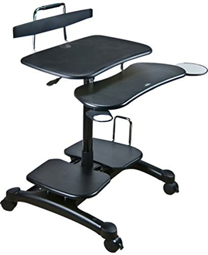 Aidata Ergonomic Sit-Stand Mobile Computer Desk Work Station Cart with Keyboard Tray, (Mobile Work Stand)