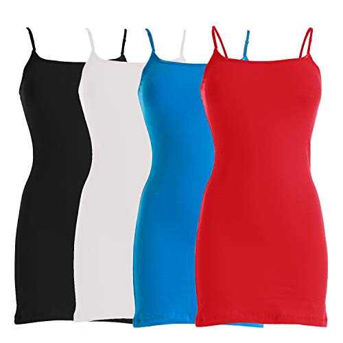 (VIV Collection Four-Pack of Basic Spaghetti Strap Cami Cotton Tank Top (X-Large, Black/White/Turquoise/Red))
