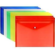 LoveS 20pcs Premium Quality Poly Envelope, Document Folder With Snap Button Closure, A4 Size, 5 Assorted Colors Set-translucent, Water/tear Resistant