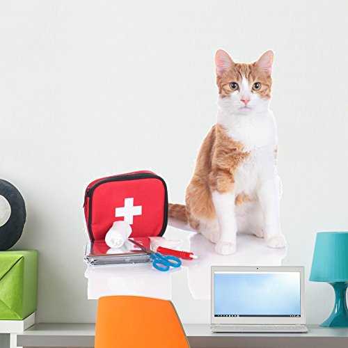 Wallmonkeys FOT-70941630-24 WM56868 Red and White House Cat Sitting Next to First Aid Kit Peel and Stick Wall Decals (24 in H x 16 in W), Medium ()