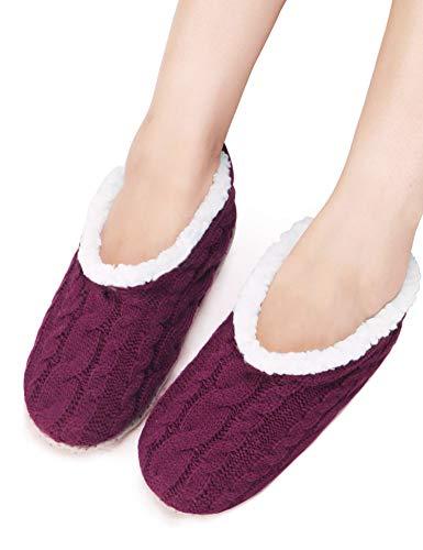 VERO MONTE 2 Pairs Womens Thick & Warm Slipper Socks (WINE + PURPLE, 7.5-8.5)42232