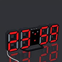 Naladoo Easy to Read at Night Extra Bright Modern Digital LED Desk / Wall Hanging Digital Alarm Clock with 2.8 Inch Large Number, 3 adjustable brightness levels - USB Cable + USB Wall Charger Adapter (C)