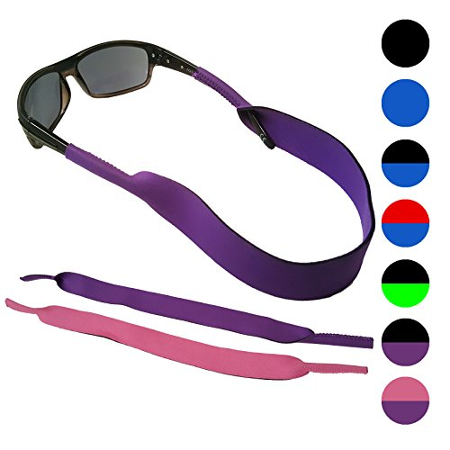 Glasses and Sunglasses Active Strap - 2 Pack | Anti-Slip and Fast Drying Sport Glasses Strap | PURPLE + - Sunglasses Chums Floating Strap
