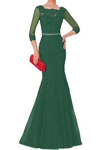 Ivydressing Lang Tuell Langarm Neu Promkleider Elegant Brautmutterkleider Spitze Damen Abendkleider Dunkelgruen 2018 OZrnO8T