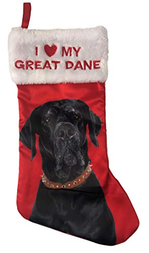 Holiday Time Pick Your Breed I Love My Breed Christmas Dog Pet Stocking with Picture of Breed Xmas Pet Gift (Great Dane)