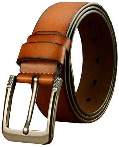 Ayli Men's Jean Belt, Handcrafted Genuine Leather Belt, Free Gift Box, Greek Key Buckle, Red Brown, Fits Pant Sizes 30