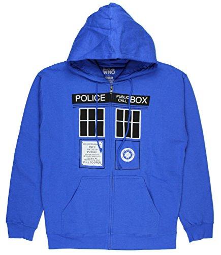 Doctor Who Mens Tardis Doors Hoodie (Medium) (Tardis Sweatshirt)