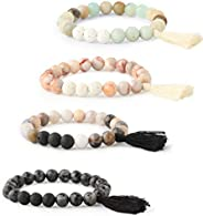 Milacolato 4pcs Essential Oil Diffuser Bead Bracelets for Women Girls Semi-Precious Gemstone Stretch Tassel Br