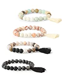 Milacolato 4pcs Essential Oil Diffuser Bead Bracelets for Women Girls Semi-Precious Gemstone Stretch Tassel Bracelet Lava Stone Bracelets