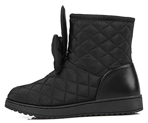 IDIFU Womens Sweet Bowknot Flat Faux Fur Lined Thick Ankle Snow Boots Winter Down Booties Black DLUS9