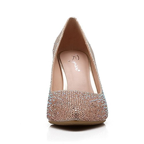 Womens Pointed On Spikes Pull Solid Materials Toe Pumps Blend AmoonyFashion Stilettos Shoes Gold Closed dEtqgdx