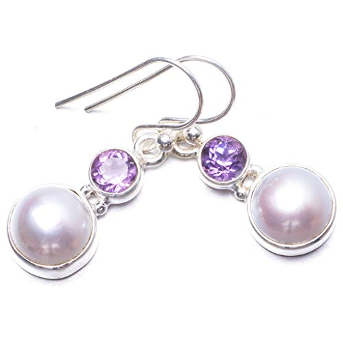 Natural River Pearl and Amethyst Handmade Unique 925 Sterling Silver Earrings 1.25