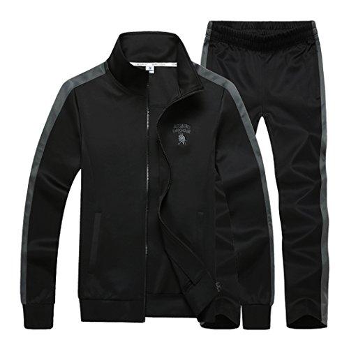 (Sun Lorence Men's Athletic Full Zip Fleece Tracksuit Sports Sets Casual Sweat Suit BlackGrey XXXL)