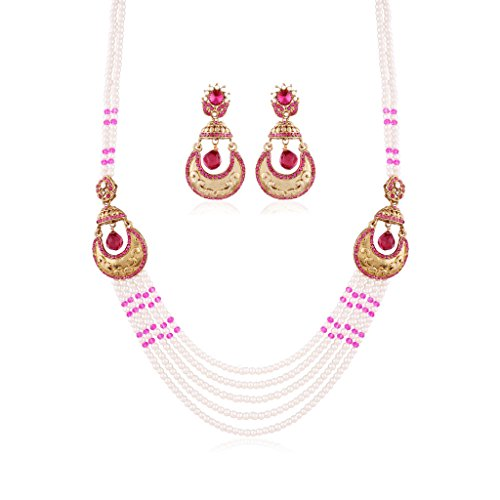 I Jewels Pearl Multi-Strand Necklace set with Earrings for Women PE10Q by I Jewels