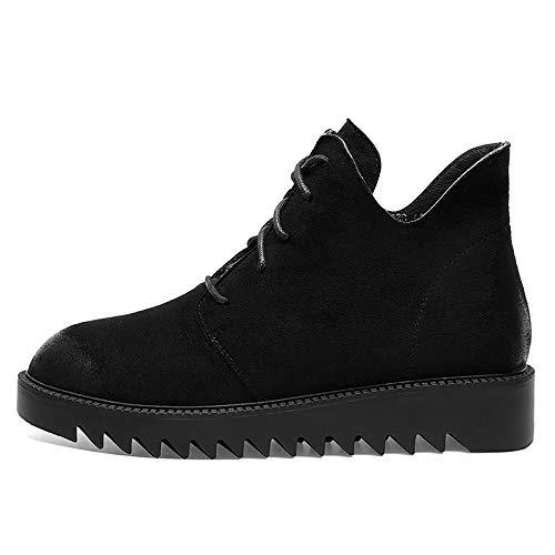 IWxez Chaussures Confort pour Femmes Synthétiques Bottes Printemps de minimalisme Printemps Bottes et été à Talons compensés Bottes à Bouts Ronds/Bottines Noir/Café 38 EU|Black 1c706f