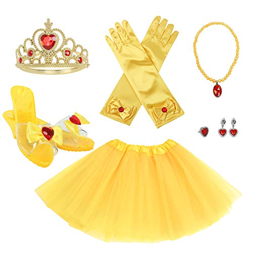 fedio Girls Princess Dress up Set with Princess Tutu,Princess Shoes,Gloves,Tiara Crown for Girls