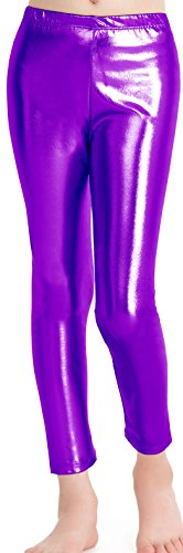 speerise Girls Kids High Waisted Shiny Metallic Dance Fashion Leggings, Purple, 8-10
