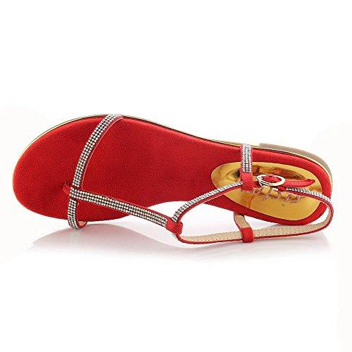 AllhqFashion Mujeres Esmerilado Sólido Hebilla Puntera Dividida Plano Sandalia Rojo