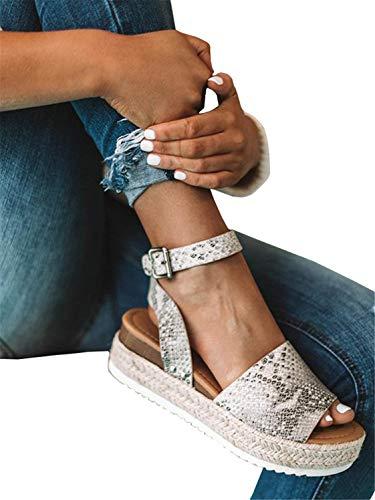 - Syktkmx Womens Snake Platform Slingback Sandals Summer Flat Ankle Strap Espadrilles