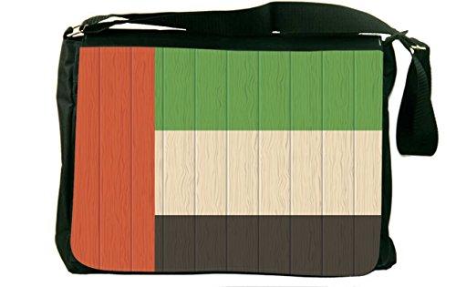 Rikki Knight United Arab Emirates Flag on Distressed Wood Messenger Bag School Bag]()