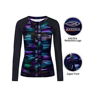 AXESEA Women's Rash Guard Tops Long Sleeve Bathing Suits Printed UV Sun Protection Swim Shirt at Women's Clothing store