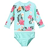 HUAANIUE Baby/Toddler Girls Swimsuit Rashguard Set UPF50+ Bathing Suit Cyan 2-3 T